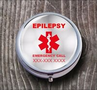 EPILEPSY PERSONALIZED CUSTOM PILL BOX MEDICAL ALERT -dfr3Z