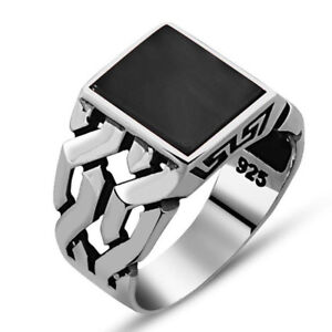 Handmade pure 925 SILVER man ring Onyx stone you can add aletter Box RRP £50