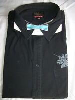 Chemise manche courte noir QUIKSILVER  XL 43/44 imprimé fleurs bleues