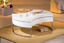 Table basse table de salon design moderne ronde pivotante chrom BLANC BRILLANT