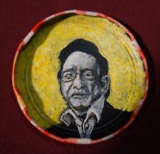 JOHNNY CASH, Jam Jar Lid Portrait, Country Music, Outsider Folk Art by PETER ORR
