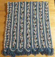 Hand Crocheted Afghan Blanket Throw Blue Ombre Country Look Multicolor EUC