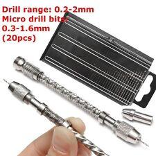 Twist Drill Pin Vice  0.2-2mm & 20pc Micro HSS Bits Spiral Jewellery Jewelry