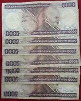 LOTE de billetes de  5000 Cruzeiro 1981 BRASIL SERIES DE (A,B)
