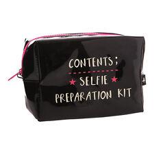 Selfie Preparation Kit Black Cosmetic Bag – Makeup Bag Novelty Travel Teenager