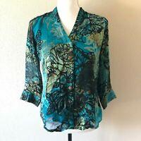 Citron Santa Monica Womens Blouse Top Sheer Sz XS Floral Blue 3/4 Slvs V Neck