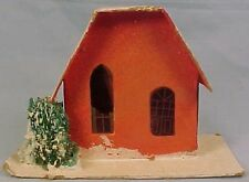 Vintage Red Christmas Putz House w Bottle Brush Tree Great Color Train Display