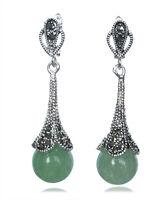"Marcasite 925 Sterling Silver Green Jade Dangle Long Earrings 1.8"""