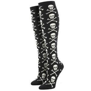 Socksmith Women's Black Knee High Socks Skull and Crossbones Novelty Footwear