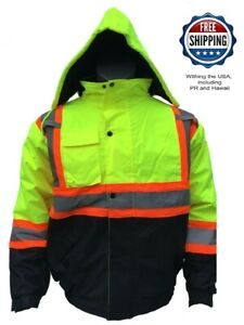 High Visibility Safety Bomber Reflective Jacket w/ Fleece Hood Road Work Padded