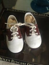 Mid Century White Leather With Brown Saddle Style Baby Shoes