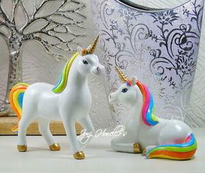 Unicorn Rainbow Ornament Figurine Sculpture Statue Fantasy Myth Home Gift