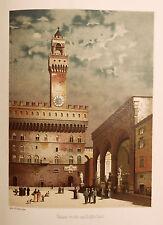 1890 ITALIEN VON WOLDEMAR KADEN=VEDUTA ACQUARELLATA DI FIRENZE, PALAZZO VECCHIO