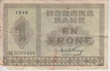 Norway Banknote P15b-6468 1 Krone 1949, corner missing, VG