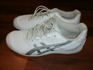 Asics Cheer 7 Q460Y Womens Girls Cheerleading Athletic Shoes White Silver Size 8