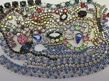 100% SWAROVSKI RHINESTONE CHAIN LONGER STRIPS & SETTINGS LOT VTG FINDINGS CRAFTS