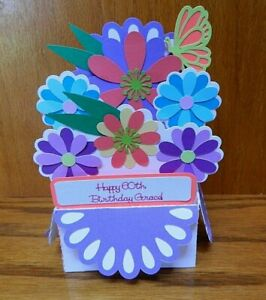 Handmade Pop Up Box Card 3-D Flowers Butterfly Happy 60th Birthday PERSONALIZED