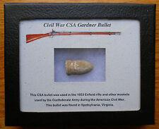Civil War dug Confederate CS Gardner musket Bullet Relic w/display case gift!