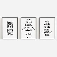 Set of 3 Food My Happy Place Funny Cook Kitchen Home Decor Poster Print Wall Art
