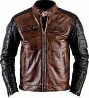 New Men's Biker Motorcycle Distressed Brown Moto Cafe Racer Leather Jacket