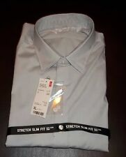 Uniqlo Mens Stretch Slim Fit Button Front Dress Shirt Gray Sz XL  NWT