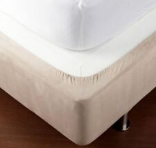 Fitted Bed Base Wrap Bedding Elastic  Cotton Jersey Cover  Mattress Linen-Beige