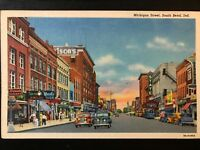 Vintage Postcard>1939>Michigan Street>South Bend>Indiana