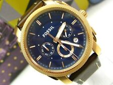 FOSSIL Brown Leather Band MACHINE Rose Gold Tone Chronograph Dial Watch! FS5073