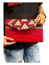 Red African Diamond Print Clutch Purse