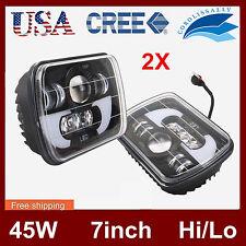 Pair 45W 5X7 CREE LED Headlight High Low Beam for Jeep Wrangler YJ Cherokee 7''