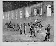 HORSES RIDING SCHOOL LEARNING TO RIDE AND JUMP ANTIQUE ENGRAVING HORSE SADDLE