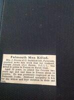 A1-5 Ephemera 1918 Ww1 Private Joseph Broom D C L I Killed In Action Falmouth