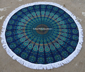 New Mandala Hippie Throw Cotton Beach Tapestry Yoga Mat Indian Roundi Bohemian