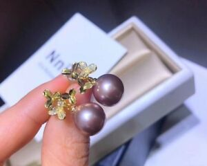 Charming AAA+ 9-10mm natural south sea PURPLE round pearl earrings