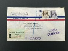 Postal History Ecuador Registered Airmail 'Clipper Cover' to York, UK 1950s