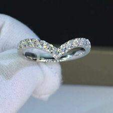 Band Ring 14k White Gold Finish 0.40 Ct Round Diamond Women's Anniversary Curved