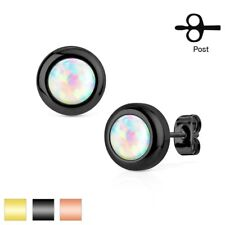 Stainless Steel Round Created White Opal Post Stud Earrings (Choose Color)