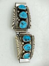 """Navajo Sterling Silver Turquoise Watch Tips Accents Tooled Native American 1.25"""""""