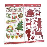 Santa Claus Sleigh Glitter Merry Christmas Stickers Lot Scrapbook Crafts Sticko