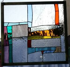 "Stained Glass Window Panel Suncatcher / ""Abstract with orange"""