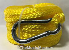 "Yellow Hollow Braided 3/8"" x 75' Premium Marine Poly ANCHOR LINE Boat Dock Rope"