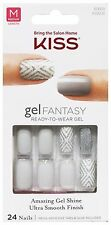 KISS Gel Fantasy 24 NAIL Glue/Press-On LIGHT GREY+GLITTER+WHT Medium #60668 7/9