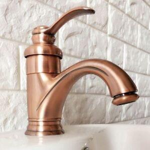 Antique Red Copper Bathroom Basin Faucet Single Handle Hole Sink Mixer Tap