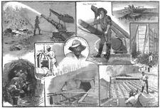 AUSTRALIA. Hydraulic gold-mining in the Australian alps, antique print, 1885