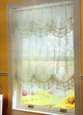"""Alison Lace Balloon Shade 58""""W X 64""""L, White with Attached Valance"""