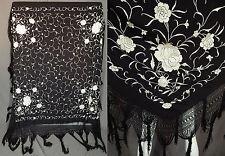 Antique Black & White Silk Embroidered Flowers Manton de Manila Piano Shawl Vtg