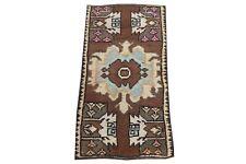 Vintage Doormat Mini 1'3x2'6 Handmade Vintage Brown Oriental Bohemian Bath Rug