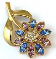 VINTAGE FLOWER BROOCH PASTEL RHINESTONE GOLD TONE METAL FLORAL JEWELRY PIN