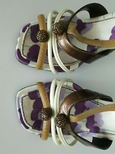 Marc Jacobs Open Toe Rhinestone Balls Ankle Strap Brown Ivory Heels Shoes 38.5