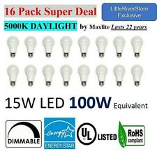 16 LED Light Bulbs 15W 100W Replacement 1600L DAYLIGHT 5000K A19 E26 DIMMABLE